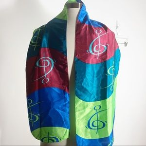 Vtg Treble clef music colorful scarf 2002 silky
